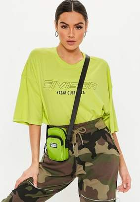 Missguided Green Sporty Cross Body Neck Bag, Lime