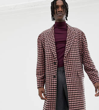Heart & Dagger overcoat in burgundy check