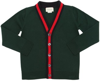 Gucci Web Cotton Knit Cardigan