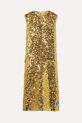 Prada Sequined Organza Midi Dress - Gold