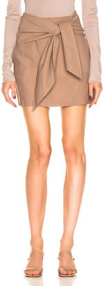Tibi Linen Suiting Skirt with Detachable Top in Sable Brown | FWRD
