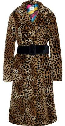 Ainea Belted Leopard-print Faux Fur Coat