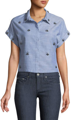Dex Cropped Beaded Button-Front Shirt