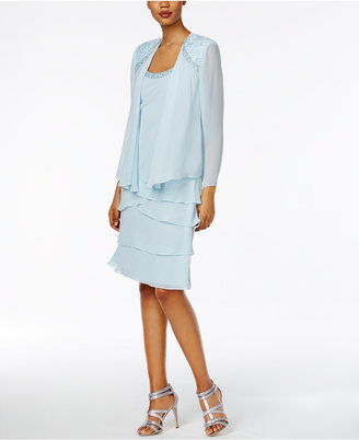 SL Fashions Lace Tiered Dress and Jacket $119 thestylecure.com