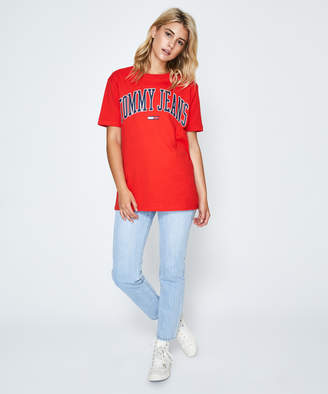 Tommy Jeans TJW Collegiate Logo T-Shirt Red