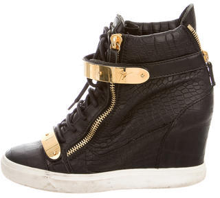 Giuseppe Zanotti Embossed Leather Wedge Sneakers $425 thestylecure.com