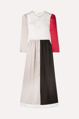 BEIGE REJINA PYO - Quinn Color-block Washed-satin Maxi Dress