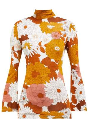 Dodo Bar Or Brigitte Floral Print Turtleneck Top - Womens - Brown Multi