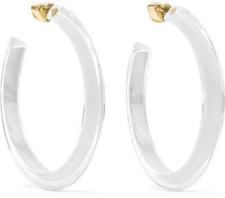 Alison Lou Medium Jelly 14-karat Gold-plated, Enamel And Lucite Hoop Earrings - White