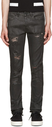 Off-White Black Distressed Coated Jeans $515 thestylecure.com