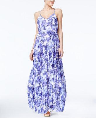 B Darlin Juniors' Floral-Print Pleated Maxi Dress $79 thestylecure.com