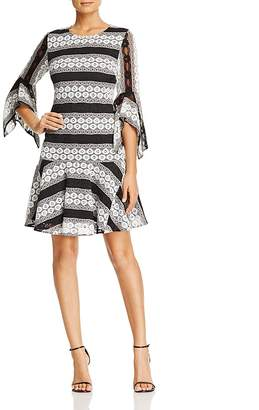 Badgley Mischka Stripe Lace Dress