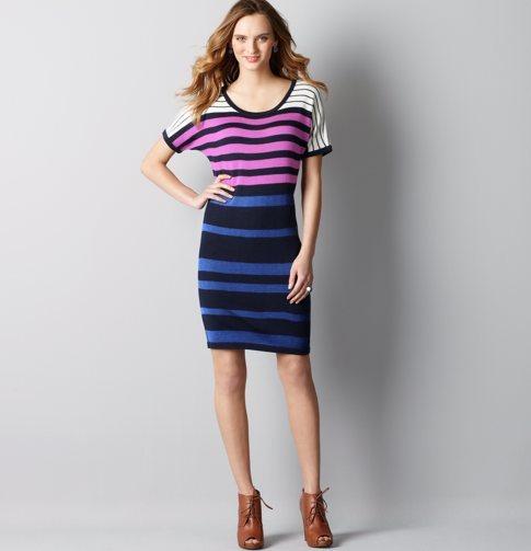Multicolored Stripe Sweater Dress