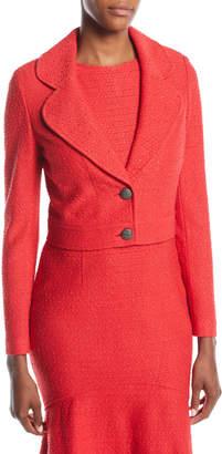 St. John Ribbon-Textured Crop Blazer Jacket