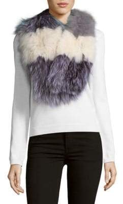 La Fiorentina Striped Fox Fur Scarf
