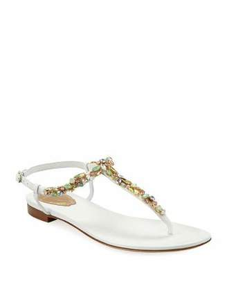 8d1c1432dac901 Rene Caovilla Jeweled Flat Thong Sandals