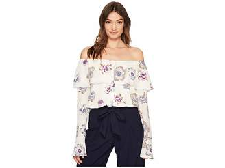 J.o.a. Off the Shoulder Button Up Top