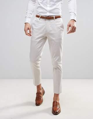 ASOS WEDDING Skinny Crop Smart Pants In Cream $35 thestylecure.com