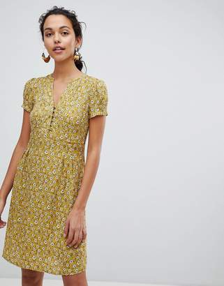 Esprit Floral Print Button Front Tea Dress