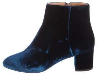 Aquazzura Velvet Ankle Boots Blue Velvet Ankle Boots