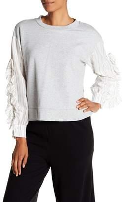 1 STATE 1.State Stripe Ruffle Sleeve Sweater