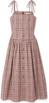 REJINA PYO Issy Checked Cotton Midi Dress - Red
