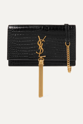 Saint Laurent Kate Small Croc-effect Patent-leather Shoulder Bag - Black