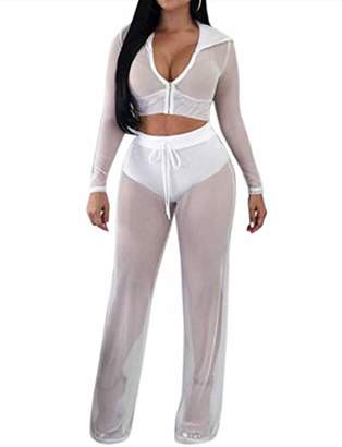 MEALIYA Two Pieces Outfits Cropped Hoodie Swimwear Mesh Sexy Cover Ups for Women Swimsuit Long Sleeve