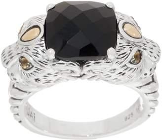 Jai JAI Sterling Silver & 14K Gold Double Leo Head Gemstone Ring
