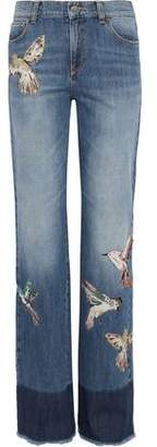 RED Valentino Appliquéd Faded High-Rise Straight-Leg Jeans