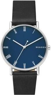 Skagen Signatur Leather Strap Watch
