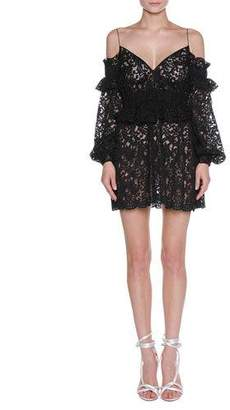 Francesco Scognamiglio Floral Lace Cold-Shoulder Peplum Minidress, Black