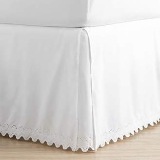 Pottery Barn Teen Extra Long Microfiber Eyelet Bed Skirt, Twin/Twin XL, White