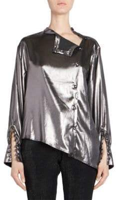 Each X Other Asymmetric Metallic Blouse