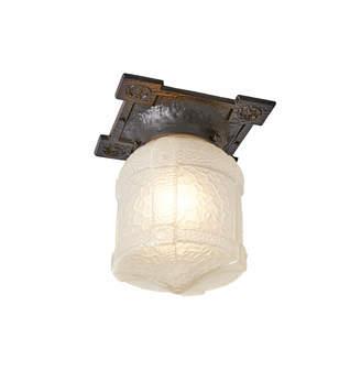 Rejuvenation Cast Iron Tudor Revival Porch Fixture w/ Textured Lantern Shade