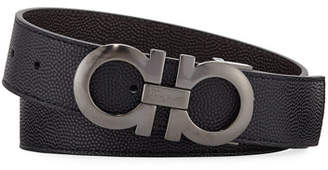 Salvatore Ferragamo Men's Double-Gancio Stamped Leather Belt