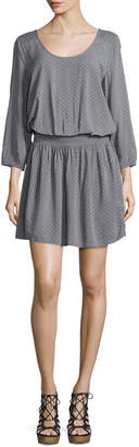 Joie Zandi Mini Dot-Print Blouson Dress