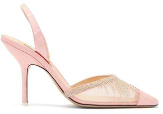 ATTICO The Mara Crystal Embellished Moire Pumps - Womens - Pink