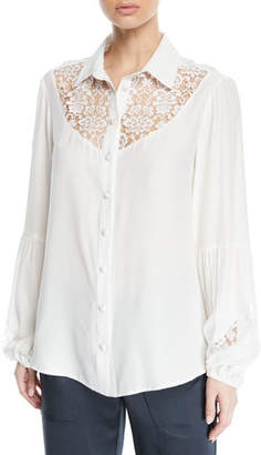 Nanette Lepore Peace and Love Long-Sleeve Blouse w/ Lace