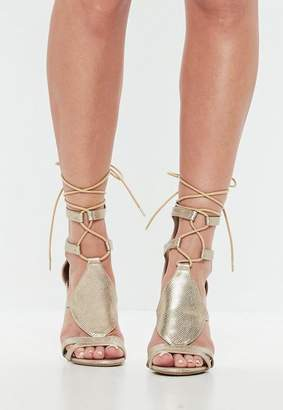 Missguided Gold Ankle Tie Gladiator Heeled Sandals