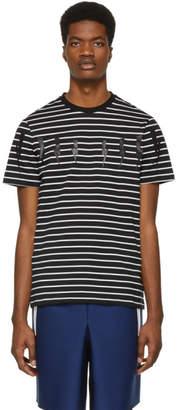 Neil Barrett Black Striped Lightning Bolt T-Shirt