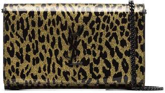 Saint Laurent Kate metallic leopard-print crossbody bag