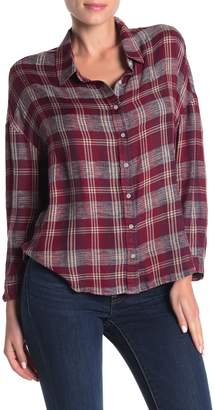 Lucky Brand Button-Front Plaid Print Woven Top