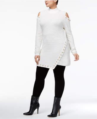 Belldini Plus Size Cold-Shoulder Sweater Tunic