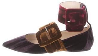 ATTICO Velvet Ankle-Strap Flats Plum Velvet Ankle-Strap Flats