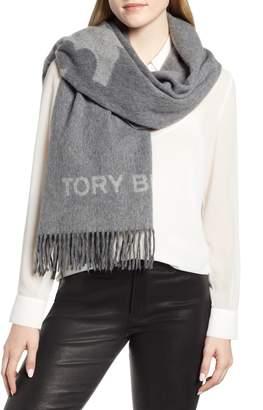 Tory Burch Logo Fringe Wool Scarf