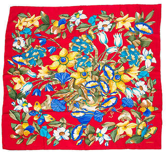 One Kings Lane Vintage Chanel Red Floral Silk Scarf - Vintage Lux