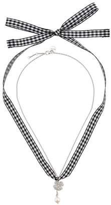 Miu Miu gingham four leaf clover necklace