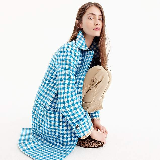 Gingham car coat
