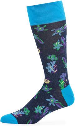 Bugatchi Men's Floral Cotton-Blend Socks
